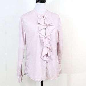 Gap ruffle blouse button down long sleeve